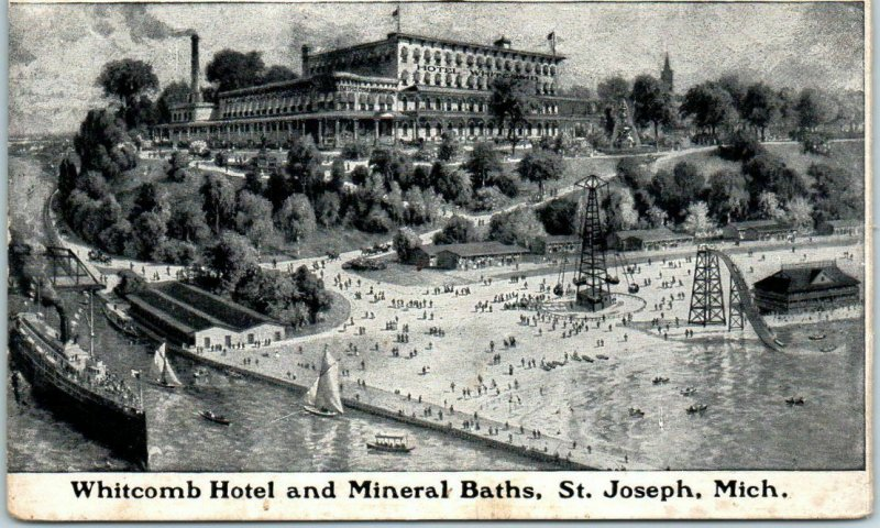 St Joseph Michigan Postcard WHITCOMB HOTEL & Mineral Baths Artist's View 1910s