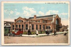 Fort Wayne Indiana~Penn Pennsylvania Railroad Depot~Vintage Cars~Bicycles~1920