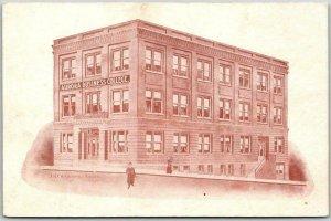 Aurora, Nebraska Postcard AURORA BUSINESS COLLEGE Artist's Building View c1910s