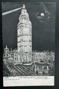 Coney Island New York~View of Dreamland Tower @ Night~Glitter Added~c1905 IPCC