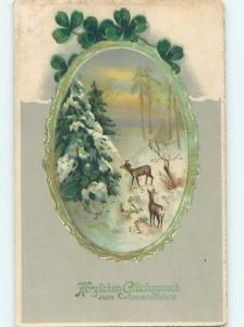 Pre-Linen New Year foreign DEER IN PEACEFUL SNOWY FOREST SCENE HL9079