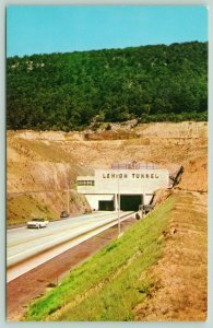 Pennsylvania~State Turnpike~1950s Sedan Leaving Lehigh Tunnel~Postcard