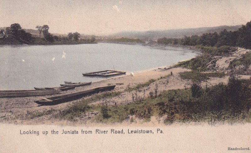 LEWISTOWN, Pennsylvania, 1900-1910's; Looking Up the Juniata From River Road