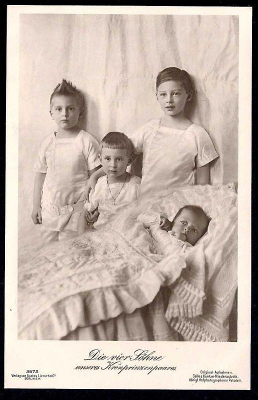 Duke of Brunswick's Four Sons - Real Photo PC unused c1923