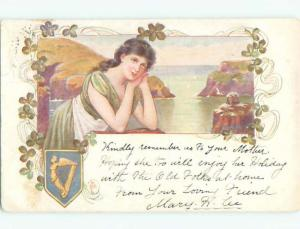 1905 st. patrick's foreign art nouveau PRETTY IRISH GIRL BY THE SEASIDE J4123