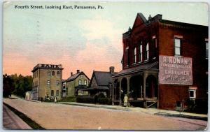 Parnassus, Pennsylvania Postcard 4th Street Looking East Downtown Scene 1912