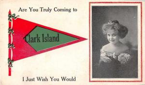 Clark Island Maine Are You Truly Coming young girl pennant antique pc Z20126