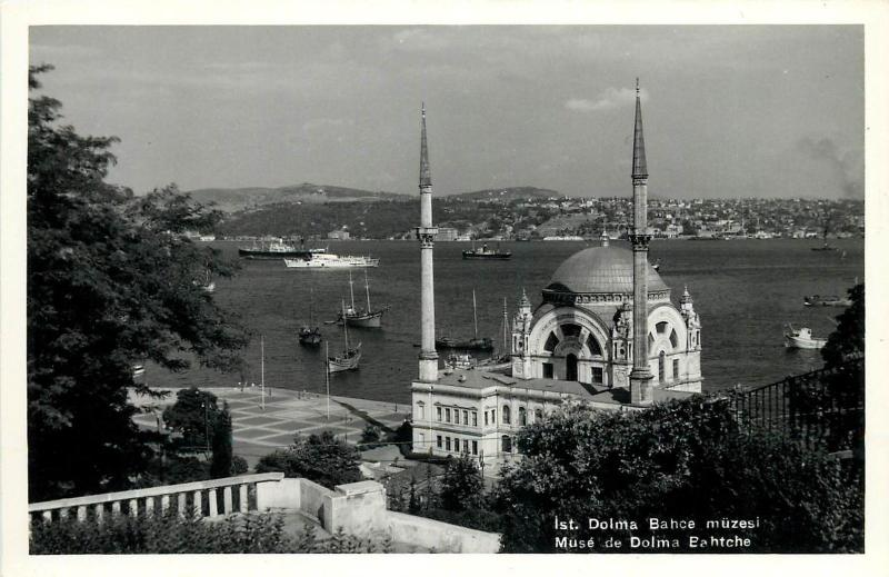 Turkey Istanbul Mosque Bosphorus Dolma Bahce Real Photo Postcard