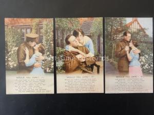 WW1 Würde You Care Bamforth Lied Karten 3er Satz No 4827 1/2/3