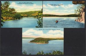 Norfork Lake Arkansas Lot of 3 Linen Postcards 1940s-1950s
