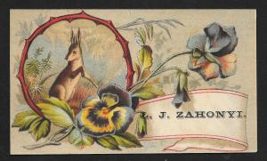 VICTORIAN TRADE CARD Vienna Confectionery Flowers & Hare