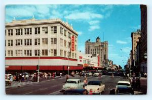 Postcard FL St Petersburg 1950s Street View 5th and Central Streets Old Cars E21
