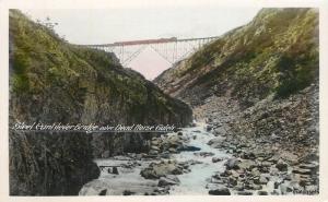 1940s Canada Railroad Steel Cantilever Bridge Dead Horse RPPC Real photo 10246