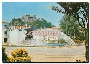Postcard Modern Leiria Portugal Fountain Illuminee