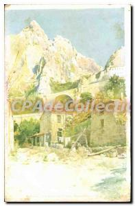 Old Postcard Menton ravine and border bridge