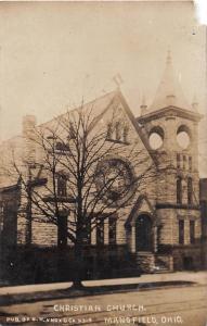 E14/ Mansfield Ohio Real Photo RPPC Postcard c1910 Christian Church Building