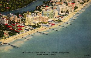 Florida Miami Beach Aerial View Of Ocean Front Hotels Curteich