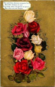 VTG Postcard Valentine Roses Poem 1910 Elba Metamora Michigan Hack Jens 1197