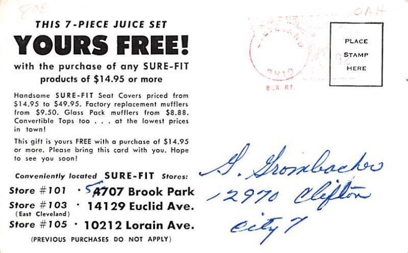 Houseware Advertising Old Vintage Antique Post Card Juice Set Postal Used Unk...