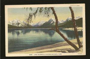 USA Postmark 1935 Kalispell Mont Lake McDonald Glacier Nat Park Linen Postcard