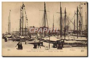 Old Postcard Deauville Yacht flowered beach in Boat Basin