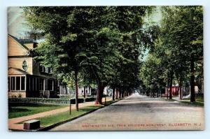 Postcard NJ Elizabeth Westminster Avenue From Soldiers Monument 1908 View I1