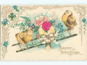 Divided-Back EASTER CHICK SCENE Cute Postcard AA0792