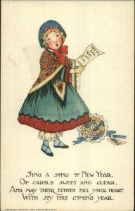 TUCK Schmucker New Year Series - Girl Singing YE OLDEN DAYS Postcard c1910