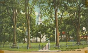 Green and Congregational Church. Falmouth, Cape Cod, Mass...