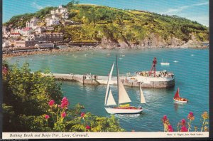 Cornwall Postcard - Bathing Beach and Banjo Pier, Looe  RS454