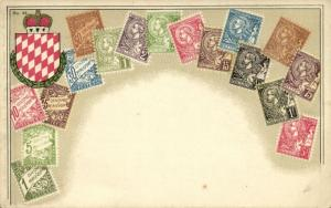 monaco, Stamp Collection, Coat of Arms (1910s) Postcard