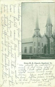 Bradford, Vermont Grace M E Church 1909 B&W Postcard