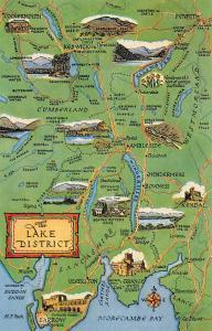 England Lake District Map, Keswick, Cumberland, Westmorland, Lancashire