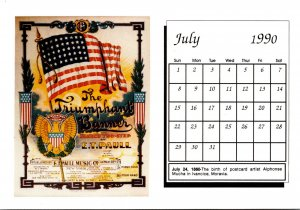 1990 Sheet Music Calendar Series July The Triumphant Banner March Two Step