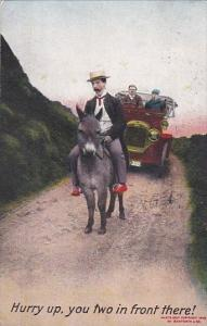 Bamforth Humour Car and Man On Donkey Hurry Up You Two In Front There 1908
