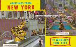 New York City Rockefeller Center Channel Gardens and Prometheus Statue