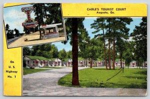 Augusta Georgia~Cadles Tourist Court~Roadside Motel Office~Restaurant~1942 Linen