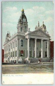 Mobile Alabama~7:35 on Clocktower~4 Ionic Columns~Courthouse~1909 TUCK Postcard