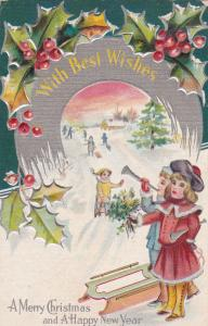 CHRISTMAS & HAPPY NEW YEAR, Children playing in snow, Trumpets, Holly, 00-10s