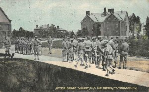 After Guard Mount, U.S. Soldiers, Ft. Thomas, Kentucky 1910 Vintage Postcard