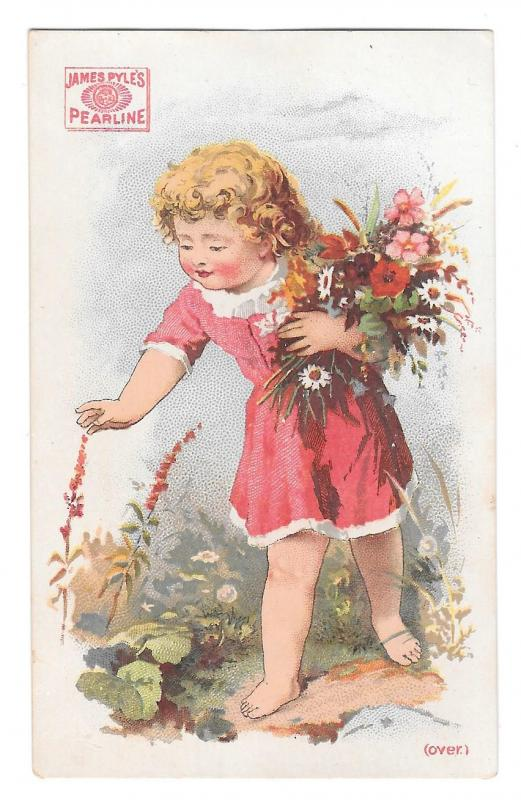 Victorian Trade Card James Pyles Pearline Washing Compaound Soap Flowers Girl