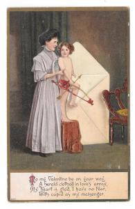 Valentine Pretty Woman Cupid Child in Envelope Embossed Julius Bien Postcard