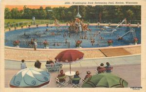 1953 Washington Park Swimming Pool Racine Wisconsin Teich Bishop Linen 11361