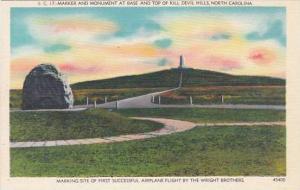 North Carolina Asheville Marker And Monument At Base And Top Of Kill Devil Hills