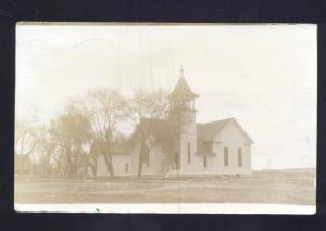 RPPC EVEREST KANSAS 1911 CHURCH BUILDING POMEROY IOWA REAL PHOTO POSTCARD