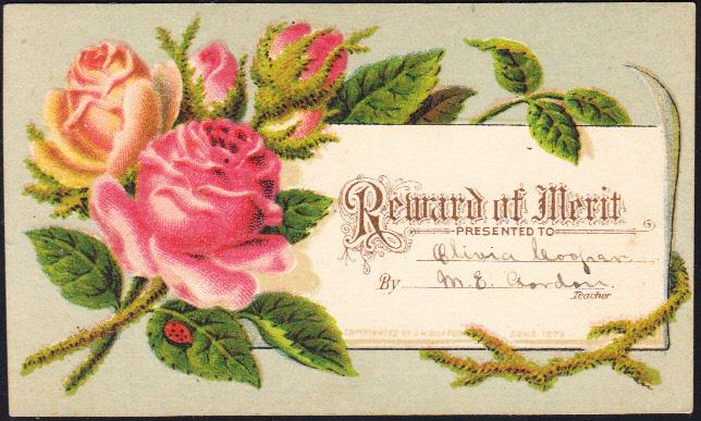 Reward of Merit  Two Smaller Floral Cards