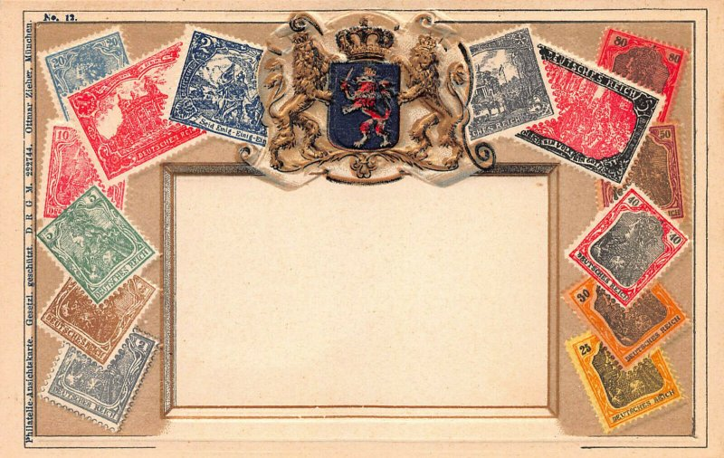 Germany Stamps on Early Embossed Postcard, Unused, Published by Ottmar Zieher