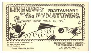 Linwood Restaurant on the Pymatuning, Linesville, PA Postcard *4X