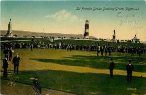 Vintage Postcard Sir Francis Drake Bowling Green Plymouth UK & Lighthouse