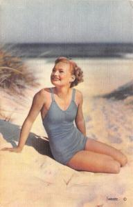Bathing Beauty In Blue Suit on Sandy Beach~Face to Sun~1940s Linen Postcard